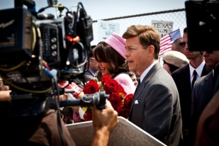 Greg Kinnear and Katie Holmes at JFK rally - The Kennedys